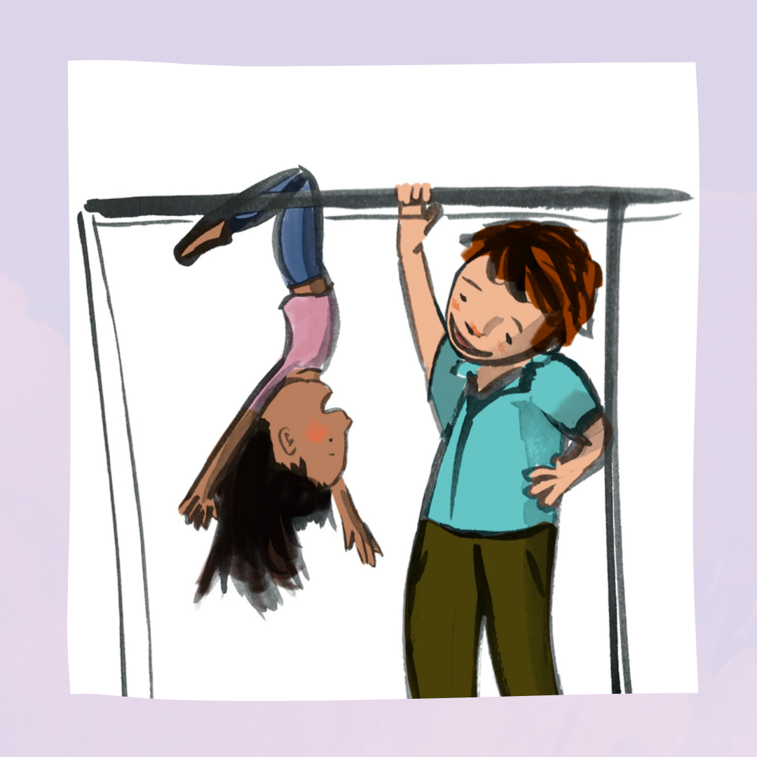 Laura, a girl in a pink t-shirt with light brown skin and long dark hair hangs from some monkey bars. An adult with pale skin and orange hair, smiling, holds the monkey bars with one hand on their hip