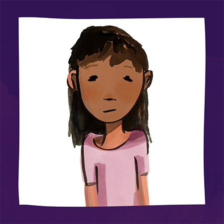 Cartoon drawing of Laura; young girl with shoulder length brown hair and a pink shirt